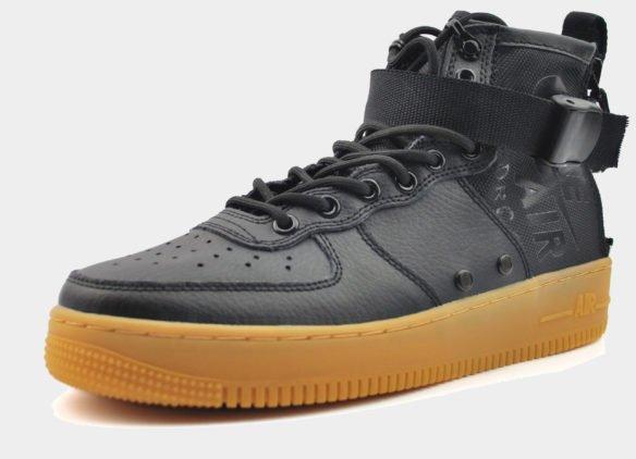 Nike SF Air Force 1 Mid Черные с коричневой подошвой