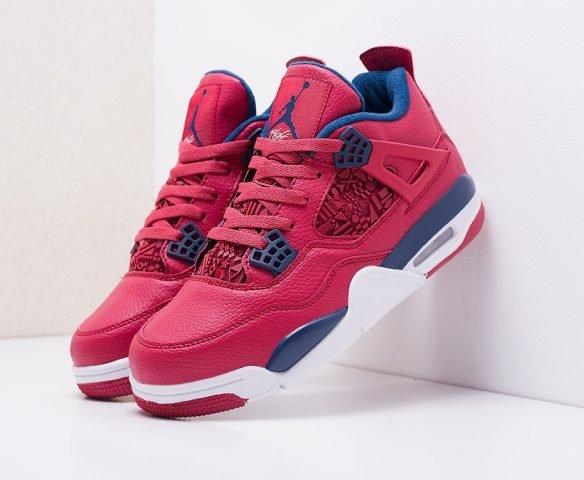Nike Air Jordan 4 Retro красные с синим