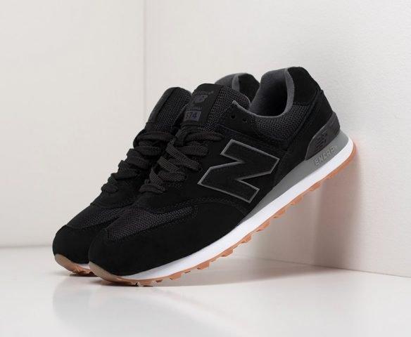 New Balance 574 black замша